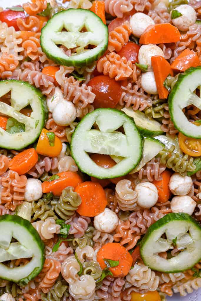 A close up shot of the Halloween Pasta Salad