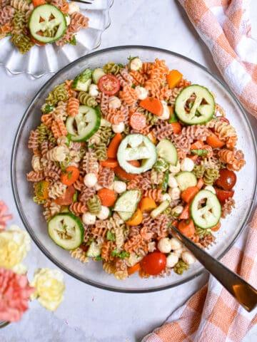 An overhead shot of the Halloween pasta salad